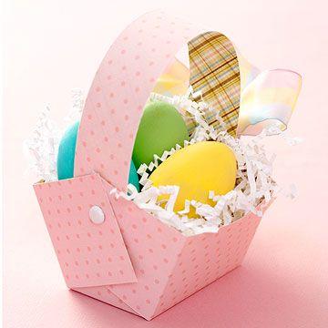 aster treat baskets: Holiday, Idea, Diy Easter, Easter, Easter Crafts, Paper Basket, Easter Baskets, Easter Treats, Treat Basket