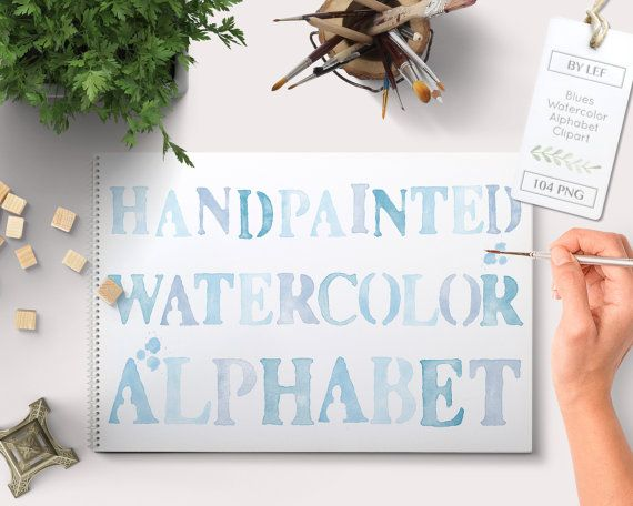 By Lef graphics on Etsy Alphabet Clipart Blue Watercolor. 4 clip art sets in different tones of blue. Great scrapbooking clipart for graphic design. commercial use by ByLef