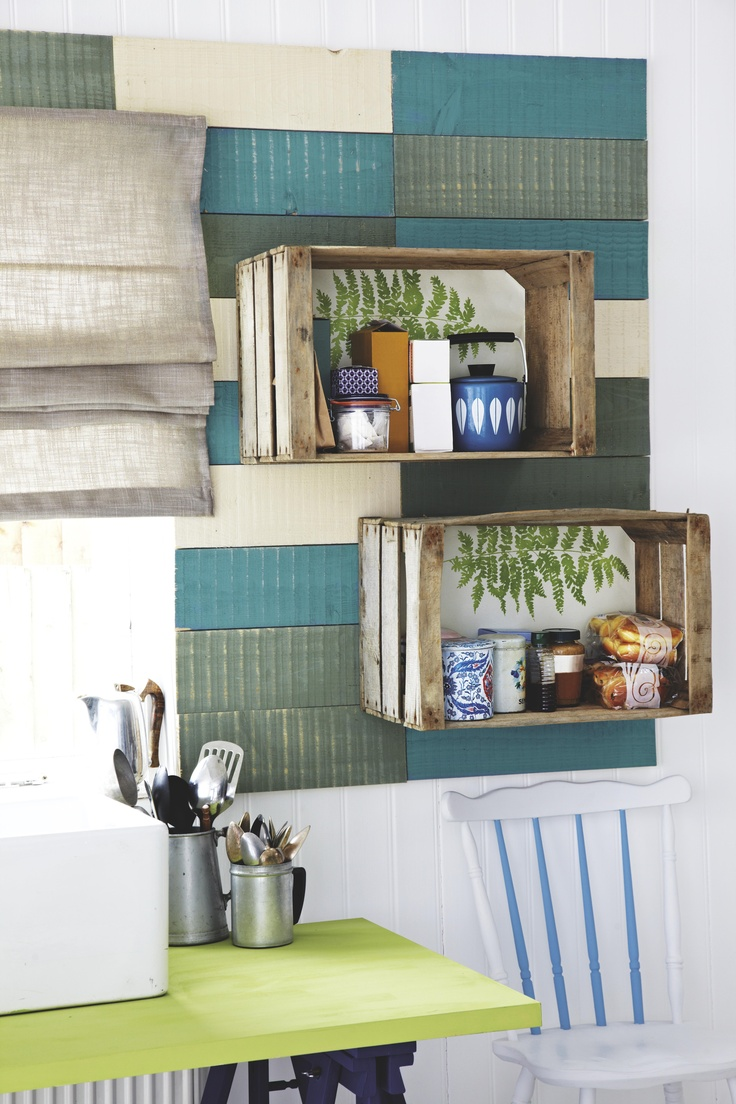 Create unique shelving using wooden crates teamed with your choice of wallpaper for instant shabby chic style. http://bq.co.uk/QWkq6N #shelving #shabbychic #decor #authentic