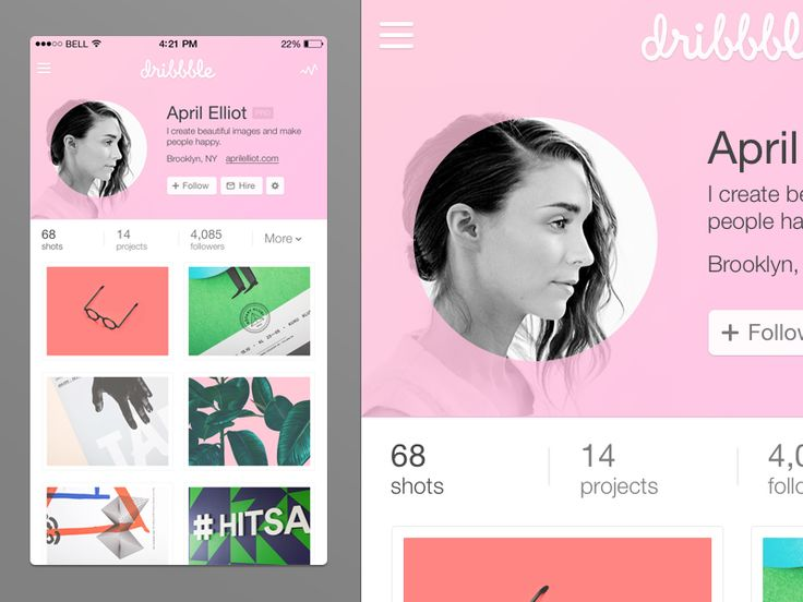 Dribbble web/native app concept