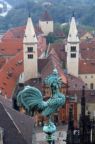 St.George basilique from the tower of St.Vitus cathedral, Prague, Czechia