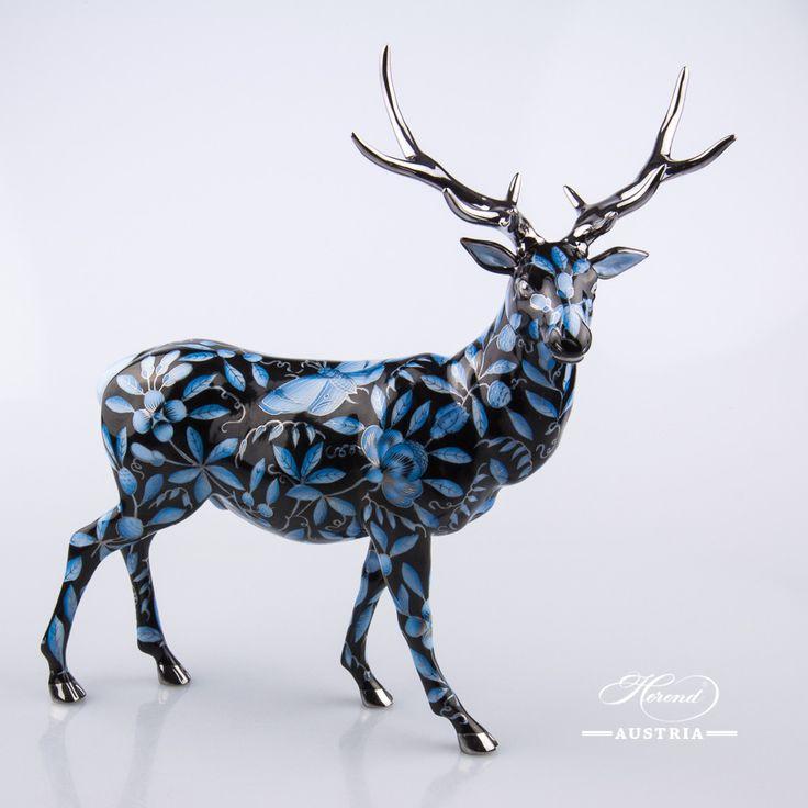 Deer – NEW in 2016 - Herend Animal Figurine 5245-0-00 ZOBA-FN-PT - Blue+Black