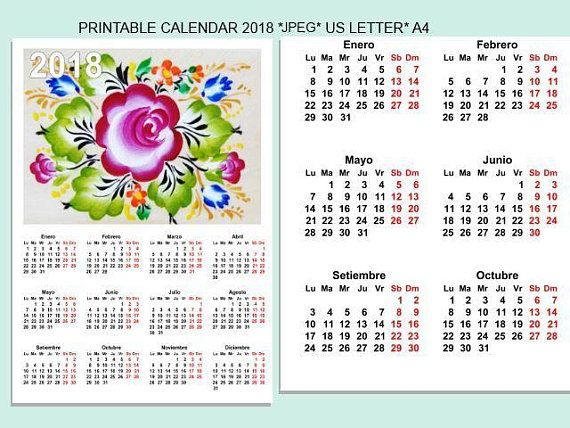 Calendar 2018 Printable floral calendarFolk Art,agenda 2018 imprimible español PDF Printable english,italian,spanish wersions.