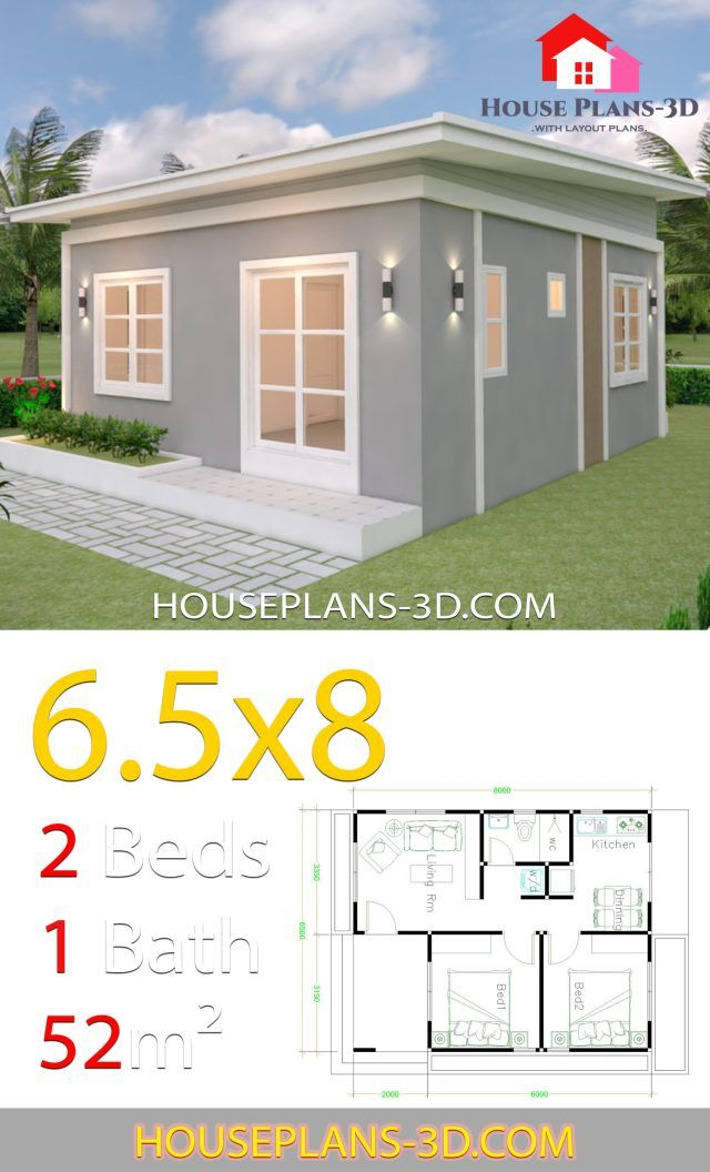 House Plans 6 5x8 With 2 Bedrooms Shed Roof Samphoas Plan Model House Plan House Plans Affordable House Plans