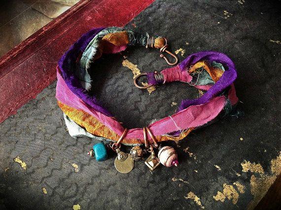 Bohemian sari silk wrap bracelet with kuchi and bead door quisnam