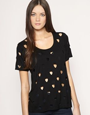 Heart Cut Out T-Shirt. would be cute with bright layer underneath