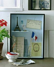 Vacation memories shadow box @Heather Kite for your trip to Paris, fun to collect things with kk (little things)