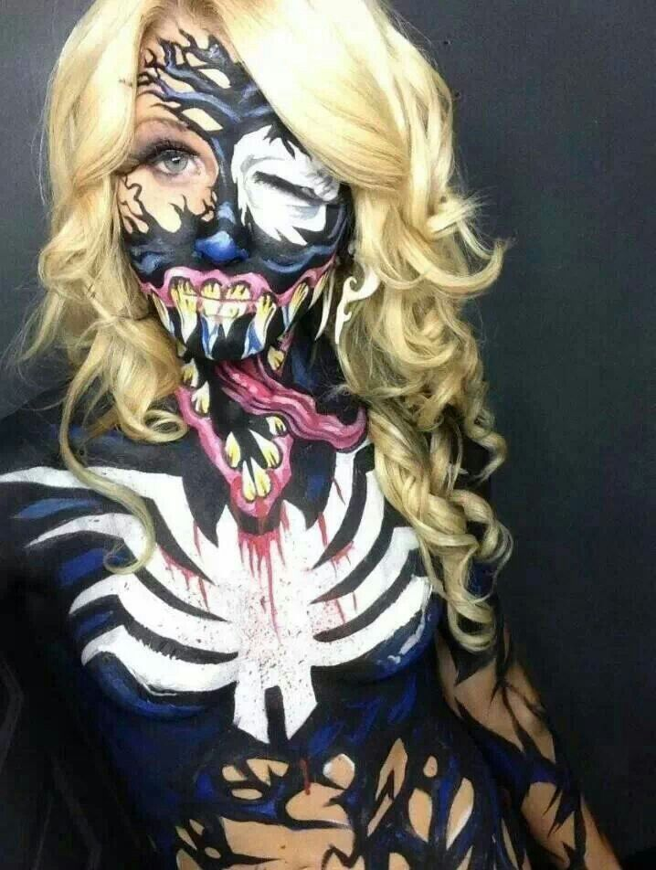 Venom painted body art...you really ahve to look close to see where her chin is.