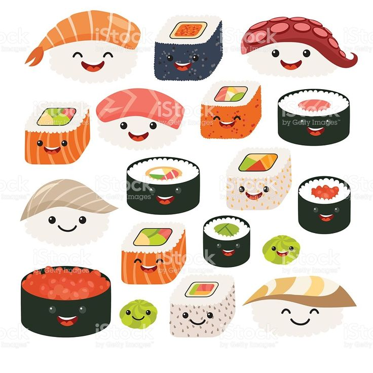 Emoji sushi characters.Cartoon japanese food. Vector set sush royalty-free stock…