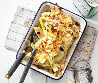 Parmesangratinerad fänkål, ta bort olja och tillsätt grädde, en knivsudd cayenne och paprikapulver. Och dubbla osten.