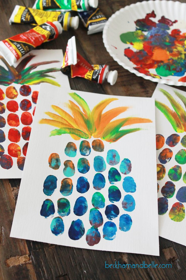 How cute are these pineapple fingerprint art pieces?
