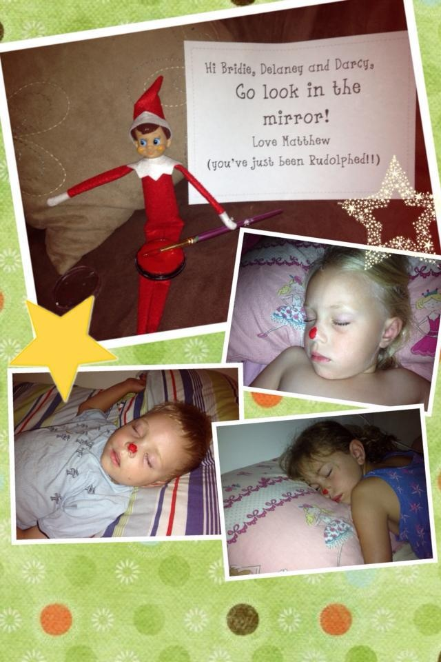 Naughty elf painting the noses of my children in their sleep!!
