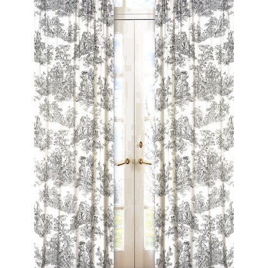Sweet Jojo Designs Black Toile Cotton Curtain Panel