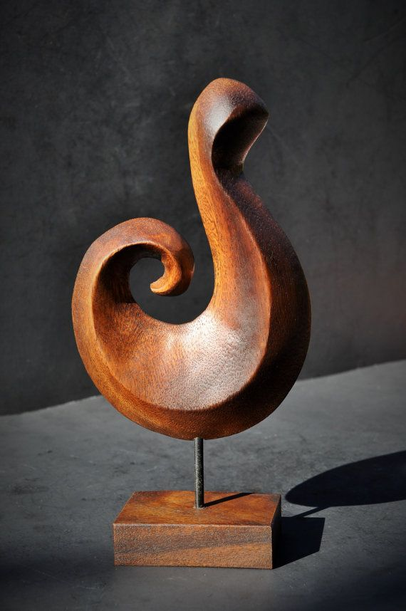 Mid Century Modern Sculpture Stylized Carved Wood By