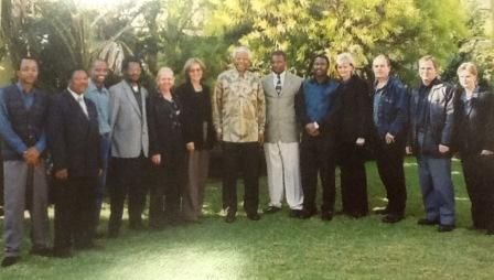 The SABC Radio Archives personnel with Nelson Mandela in 1999 http://sabcmedialib.blogspot.com/2013/07/nelson-mandelas-voice-priceless.html