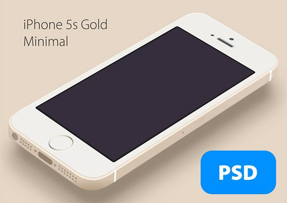Another well done minimal iPhone5S Gold mockup designed with Photoshop vector shapes. PSD created by Hüseyin Yilmaz.
