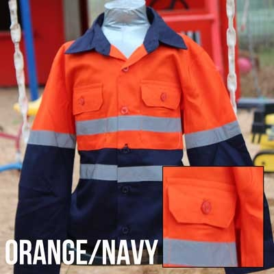 Cuties By Zootys - Orange & Navy - Original Hi Viz Kids Work Shirts