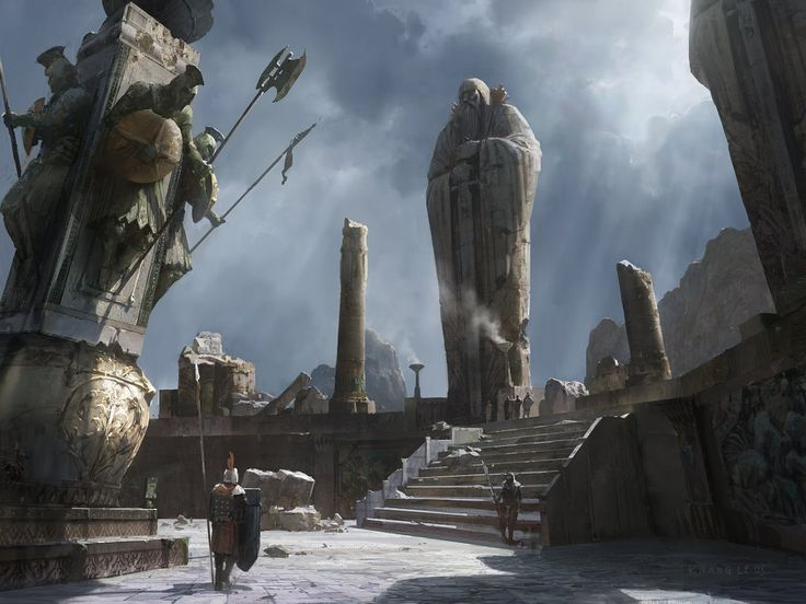 Art by Khang Le - The statues on that pillar look like they could jump down to defend the cairn if an enemy approached...