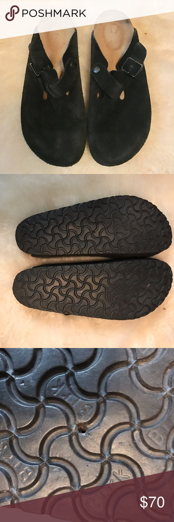 Birkenstock Boston Black Suede Clogs Sz 41 Classic Birkenstock Boston clogs in black suede, comfy as you expect Birkenstocks to be.  Barely worn, minimal signs of wear.  A twig poked the sole so there is a hole where it was but it doesn't go all the way through the plastic.  Make an offer! Birkenstock Shoes Mules & Clogs