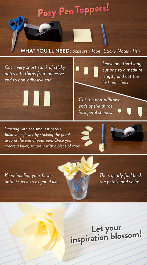 DIY Flowers to top off pencils and pens. Personally, I'm going to add these to the tops of pencils that students borrow so I know which ones belong to me! Love this idea! Craft courtesy of ModCloth.