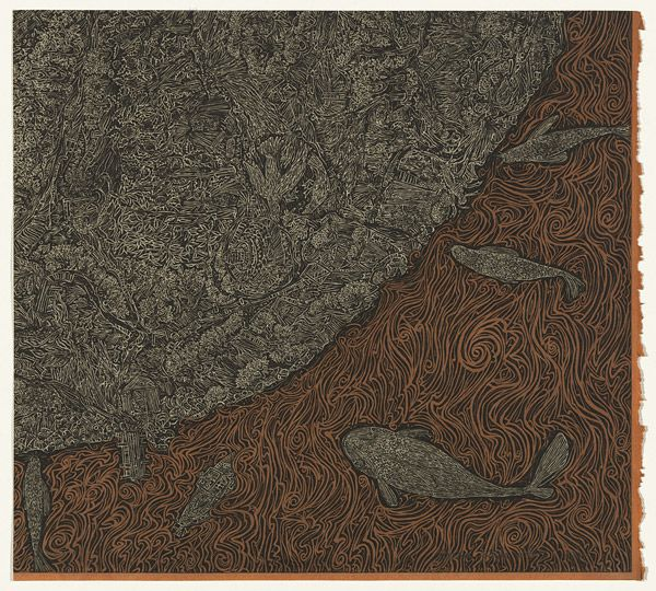 yama-bato: Hertha KLUGE-POTT Berlin, Germany born 1934 Australia from 1958 The other side of a place 2001 dye; ink; paper open biting with resist and drypoint with burnishing, printed in black ink with plate-tone, from one plate; hand-stain in orange dye Impression: 2/6 Edition: edition of 6 plate-mark 44.6 h x 49.2 w cm Gift of the artist 2014. Accession No: NGA 2014.469.D