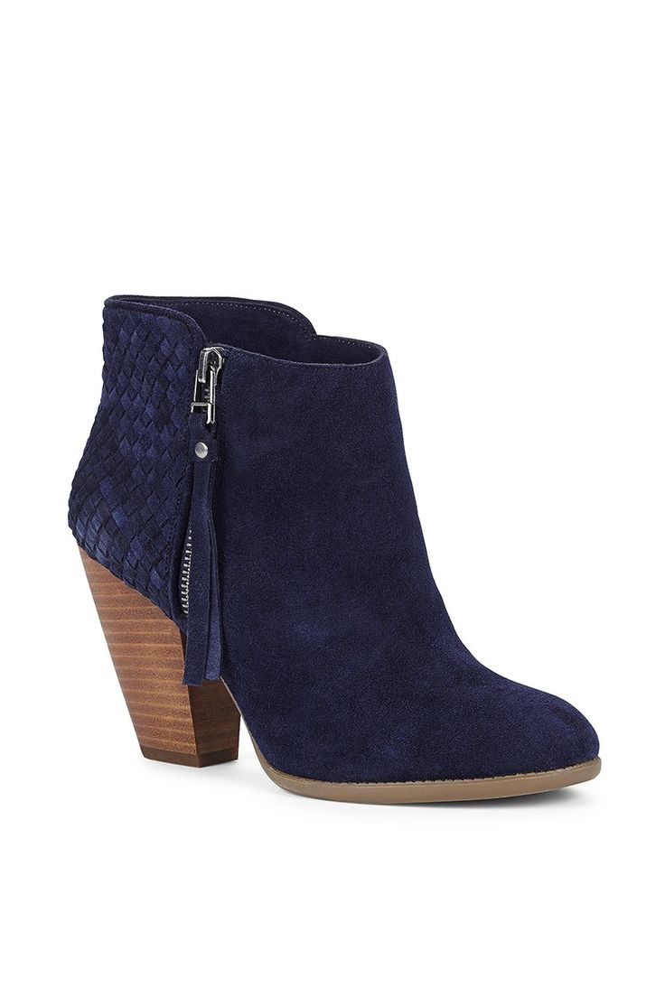 Navy suede bootie with gorgeous woven details along the back