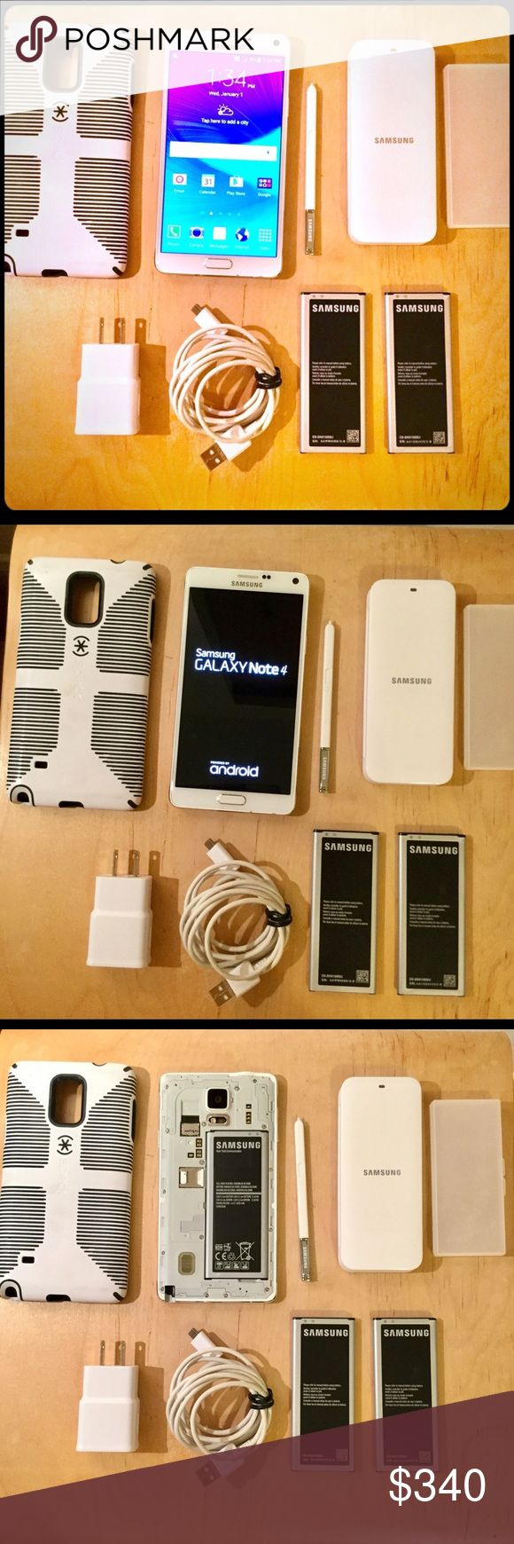 SAMSUNG GALAXY NOTE 4 WITH CASE Bundle includes 1 Speck hard cae, 2 extra batteries,1 mobile battery charger, 1 battery case& 1 usb cable. Stores in case since day one. Excellent condition with 2 tiny chips near bottom which doesn't affect the phone or screen. Chips not visible when in case. Stylus pen works perfect. 32GB. No microSD card. W/ 2 extra battery, you dont have to worry about finding an electricity outlet when you travel. Camera takes amazing photos especially more in the dark…