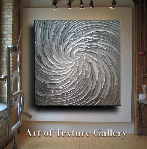 Huge Large Original Abstract Texture Modern White Silver Pewter Gray Floral Carved Sculpture Knife Oil Painting by Je Hlobik