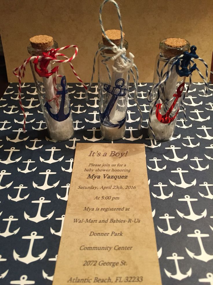 Message in a bottle baby shower invitation. | Nautical Themed-Baby Shower | Pinterest | Shower ...
