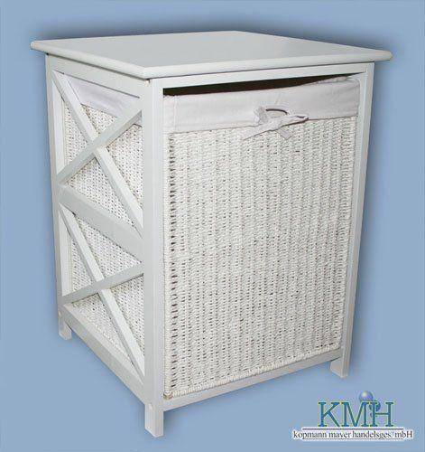 Wäschekorbkommode mit Wäschekorb im Rattan-Look / Wäschekorb / Wäschebox