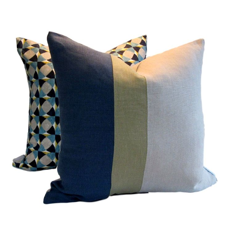 Instantly update your decor with our contemporary linen Denim Green Natural Colour Block Pillow Cover