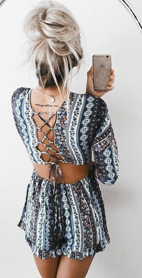 #summer #ultimate #outfits |  Paisley back Detail Romper