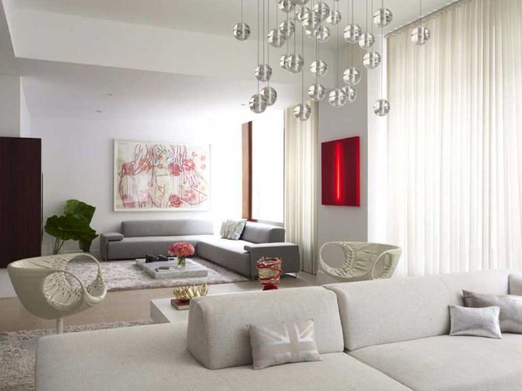 Decorating Ideas for Long Living Rooms  with floor tiles and white fabric sofas