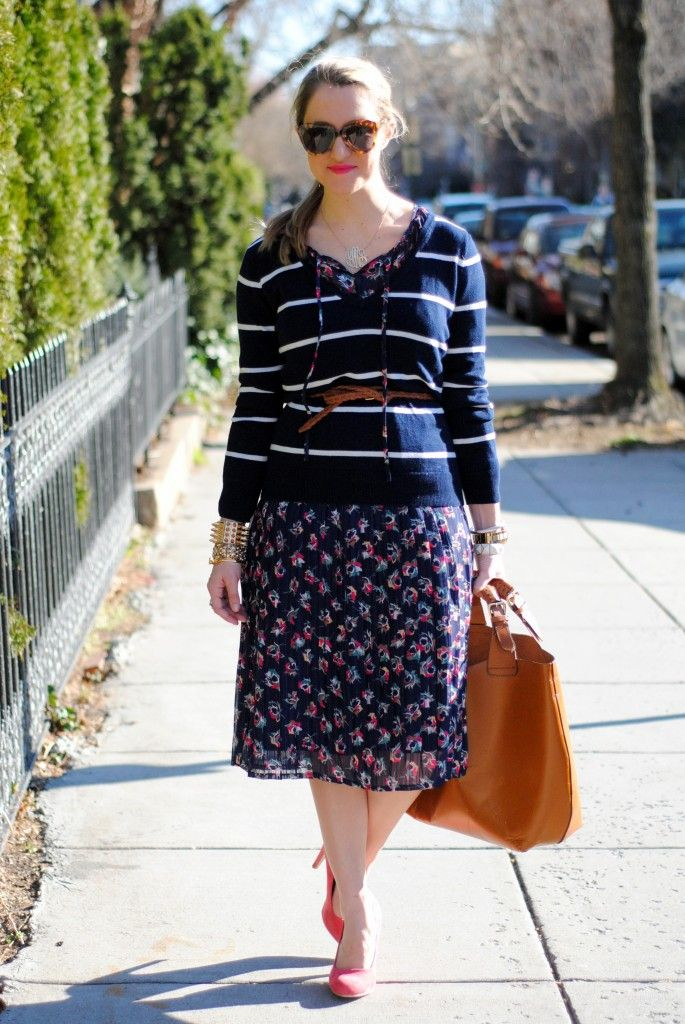 Lacey mixes navy w/ floral