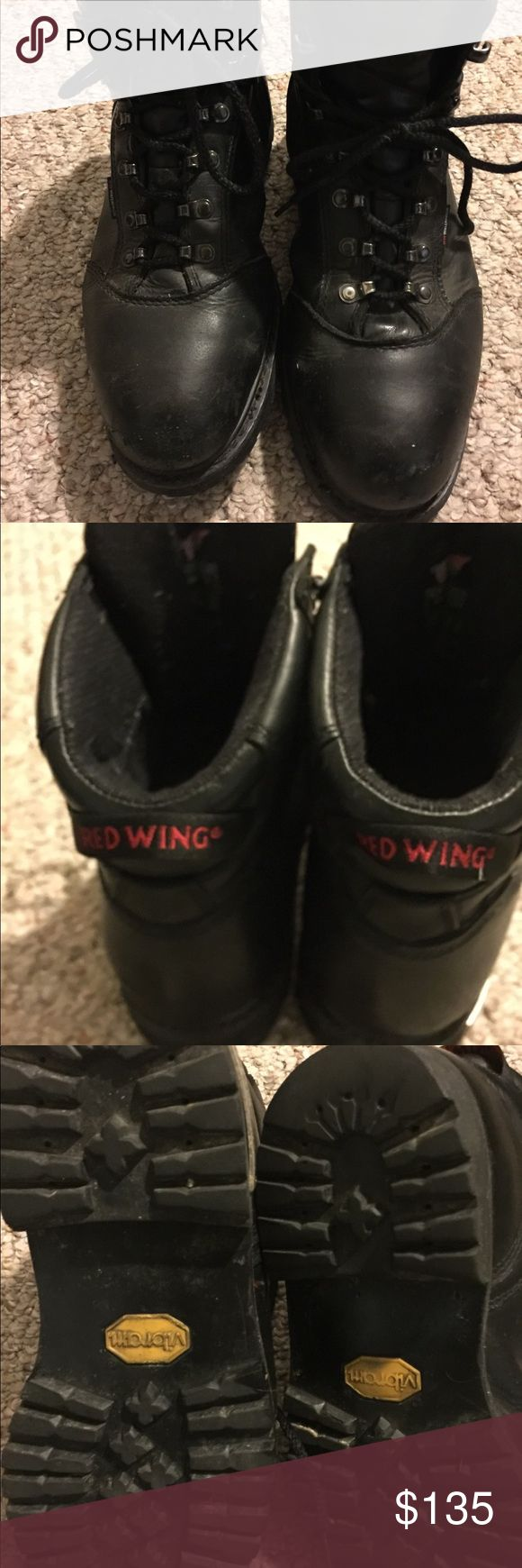 """Men's Truwelt 6"""" Boot Red Wing Steel Toe EUC- Men's Red Wing Truwelt 6"""" Boots item#971; Steel Toe, electrical hazard; and waterproof. Made of Black leathe. Construction: Goodyear welt. Insole Texon. Outsole: Vibram Lug TC-4Plus. Shank is non Metallic, Slip resistant, Oil, gas resistant, Abrasion resistant,heat resistant. This boots are in great condition, see Pics some abrasions to the leather from normal construction wear, but barely worn. Red Wing Shoes Shoes Boots"""