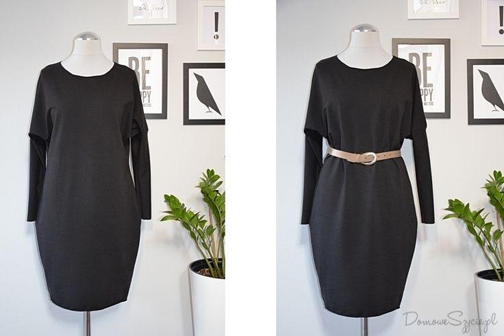 sukienka, suknia, wygodna sukienka, sukienka z dzianiny, sukienka z dresówki, prosta sukienka, czarna sukienka, dresówka, dzianina, szycie, szycie ubrań, blog o szyciu