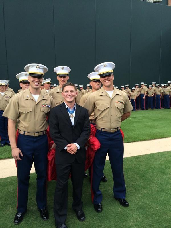 USMC Medal of Honor Awardee & Afghanistan War Veteran Cpl. Kyle Carpenter, honored at an Atlanta Braves Baseball Game, alongside his fellow Marines.