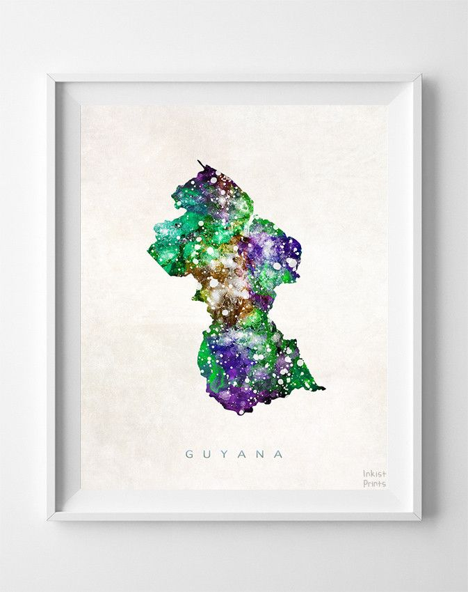 Guyana Watercolor Map Print