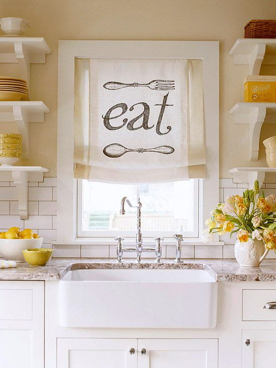subway tiles and the cutest little ''eat'' sign.: Kitchens, Curtains, Kitchen Windows, Window Treatments, Windowtreatment, Kitchen Ideas, Farmhouse Sink
