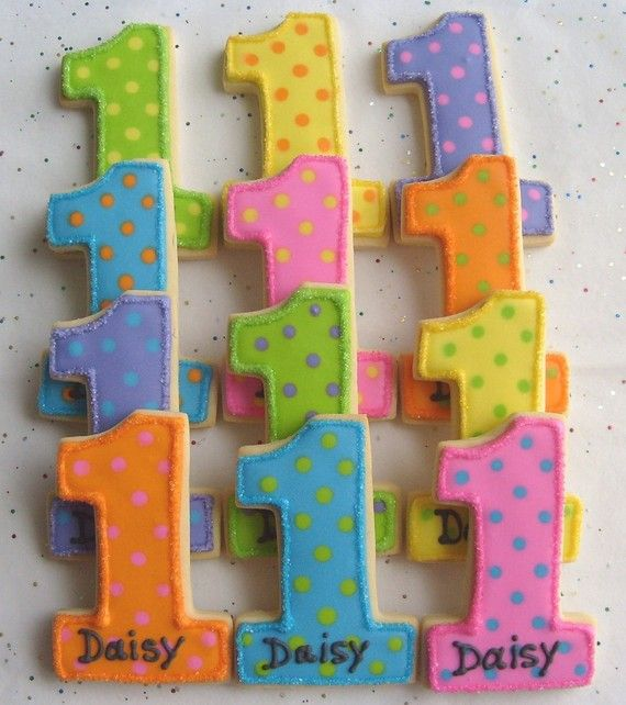 Number One Cookies  First Birthday Cookies  Favors  by lorisplace, $36.99
