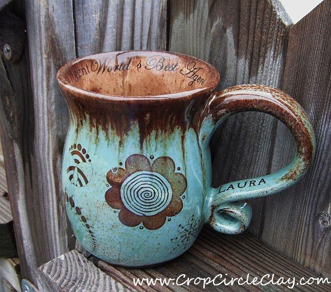 Personalized Ceramic Coffee Mug - Robin's Egg, Chocolate Brown, Aquamarine, Earthy, Hand Thrown Stoneware Pottery. $46.00, via Etsy.