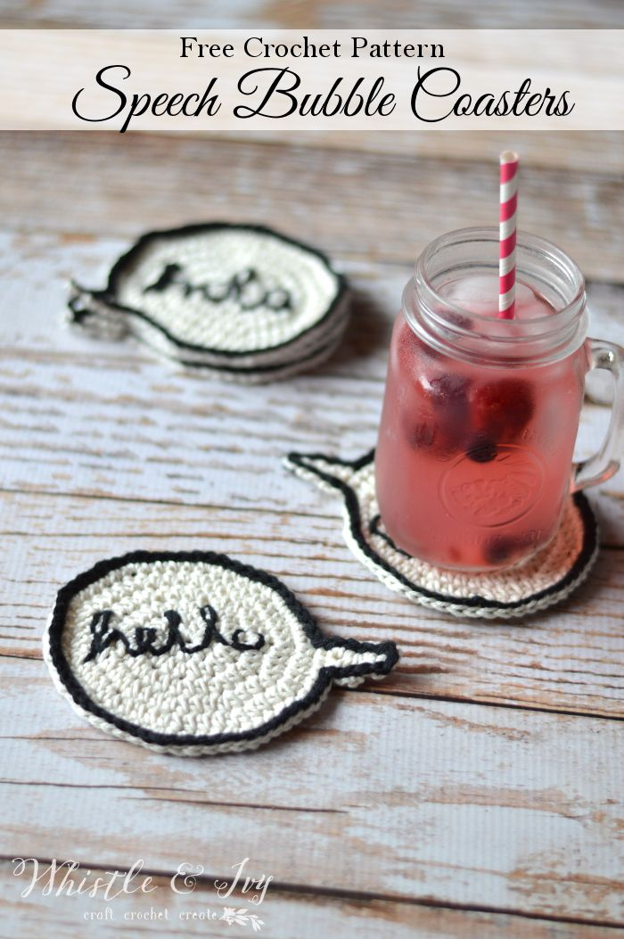 Free Crochet Pattern - Crochet speech bubble coasters