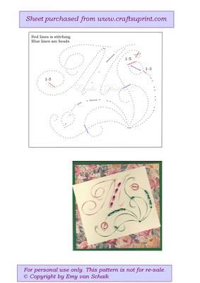Ed M The letter M on Craftsuprint designed by Emy van Schaik - Stitching with beads - Now available for download!