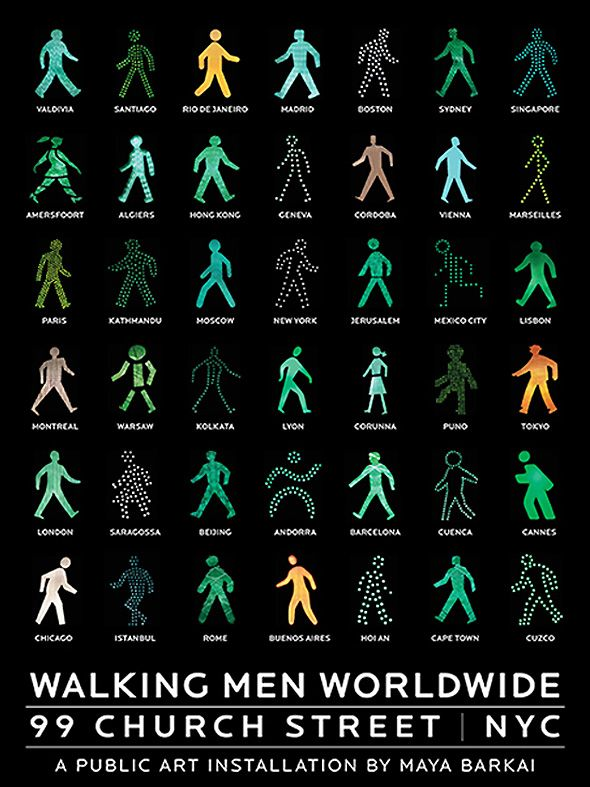 Walking-Men-Installation-Art-Maya-Barkai-Pays-Signaletique-Pieton-Pictogramme-1.jpg 590×787 pixels