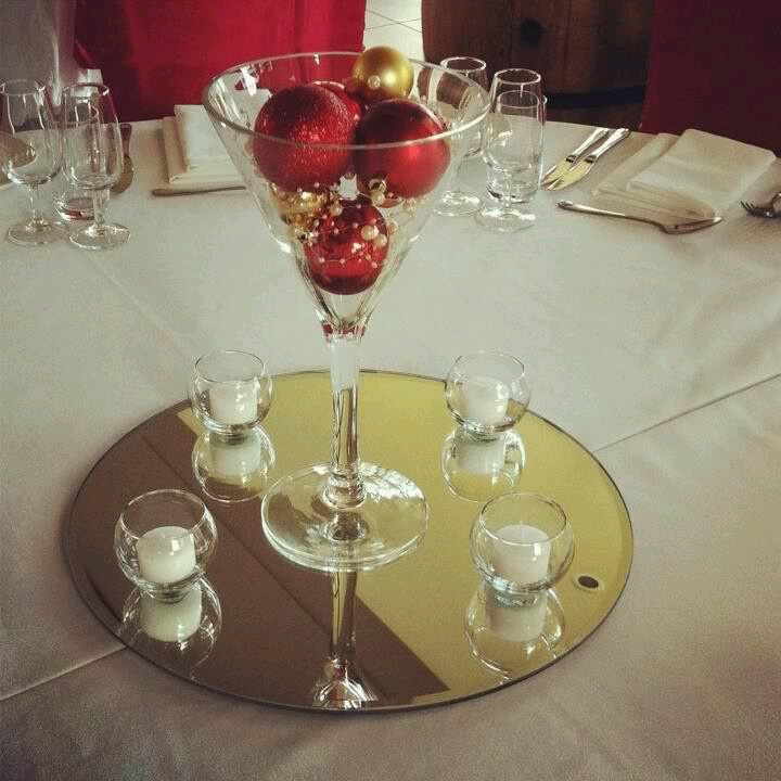 Simple but elegant christmas party centerpieces