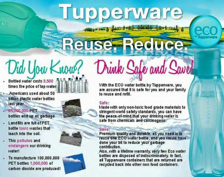 Reduce Reuse Recycle Use BPA FREE Tupperware Eco Water Bottles!  Www.my.tupperware.com/wendystevens