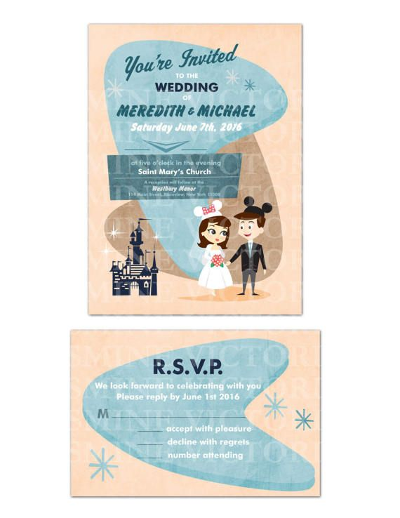 This purchase is for a digital JPEG of a Retro Disney Bride and Groom 5 by 7 Wedding Invitation or a 4 by 6 RSVP card. Watermarking will be removed after purchase.  Final files are sent via E-mail.  The type can easily be changed. The Mickey ears can be removed to make this invite just a retro bride and groom invitation. You pick the gown, Hair style and Color. Also if you need two brides or two grooms that can easily be done. You can print this file from your home computer or upload to a…