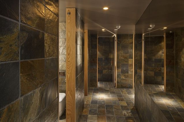 The bathrooms are lined in slate.