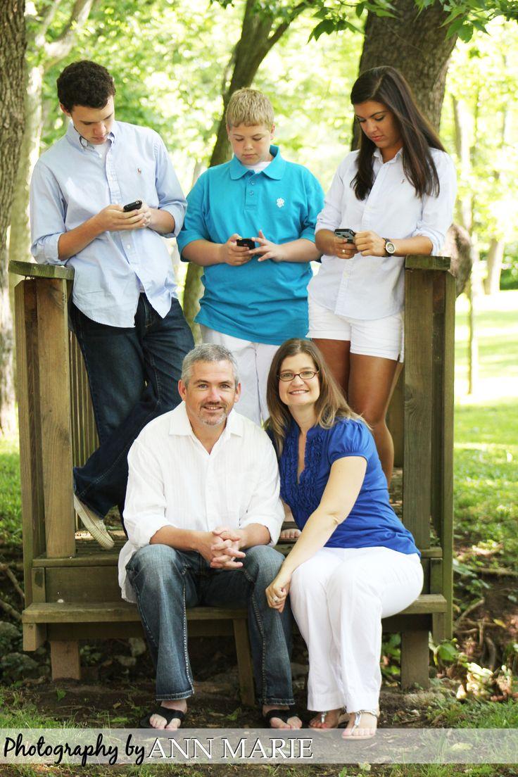 Fun family photo, texting!