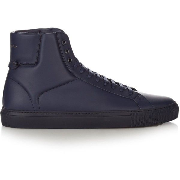 Givenchy Urban Knots high-top leather trainers (47730 RSD) ❤ liked on Polyvore featuring men's fashion, men's shoes, men's sneakers, navy, shoes, givenchy mens shoes, mens high top sneakers, mens leather lace up shoes, mens leather sneakers and mens black leather high top sneakers